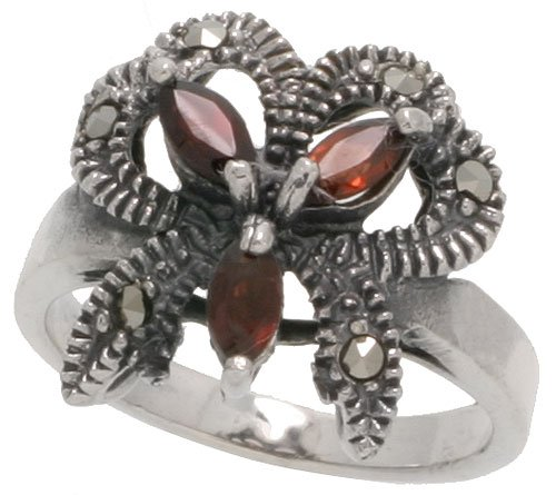 Sterling Silver Marcasite Ribbon (Sterling Silver Marcasite Ribbon Ring, w/ Natural Garnet, 11/16
