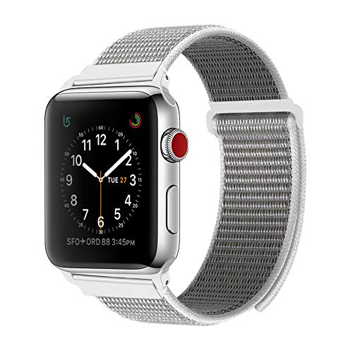 BEA FASHION for Apple Watch Band 42mm Soft Breathable Woven Nylon Replacement Sport Loop Band for Apple Watch Series 3/2/1 Seashell by BEA FASHION (Image #5)
