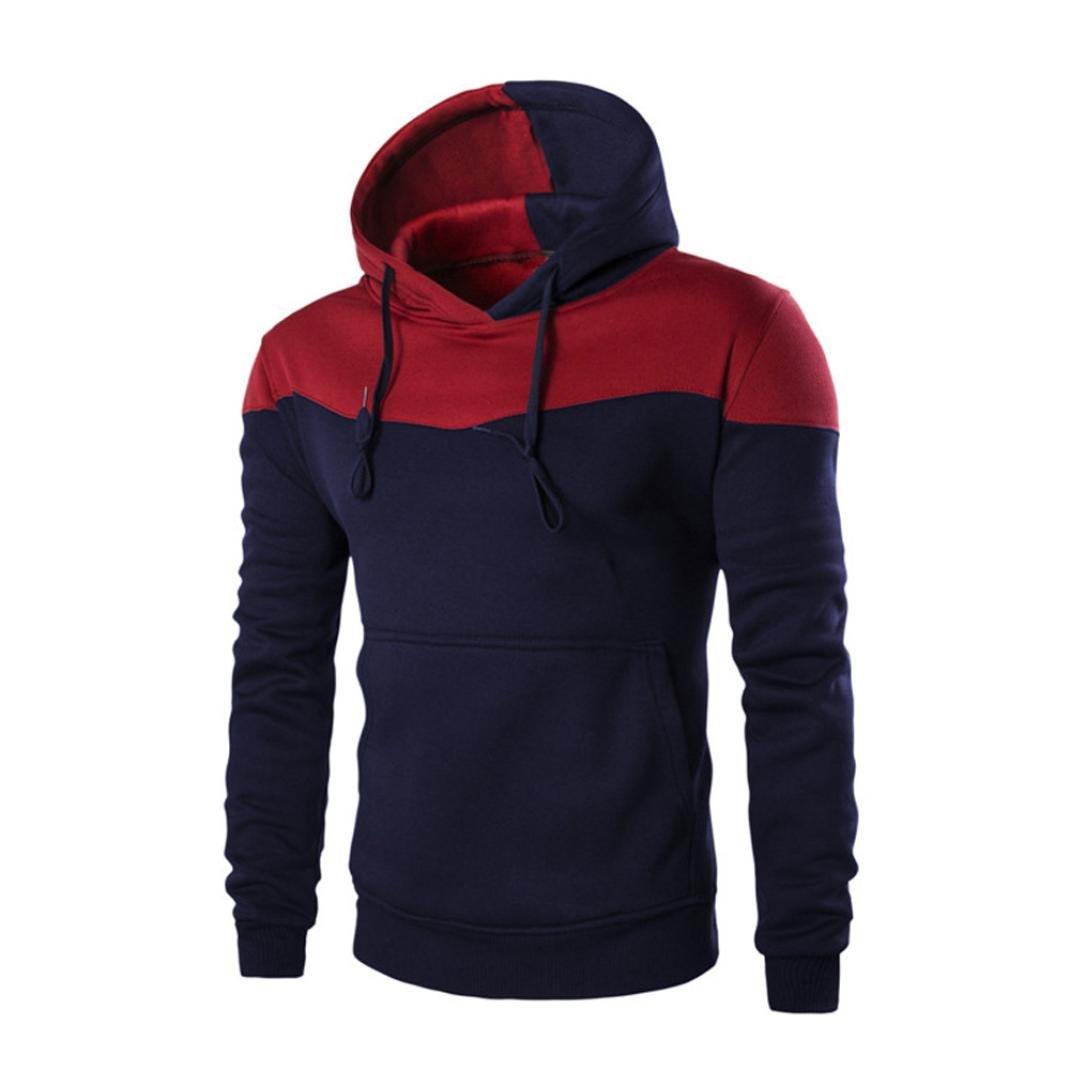 OCASHI Men Winter Slim Hoodie, Patchwork Warm Pullover Sweatshirt Hooded Coat Outwear Tops (L, Navy)