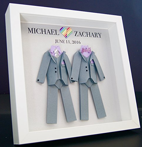 Personalized Gay Same Sex LGBT Wedding Gift, Engagement, First Anniversary Paper Origami Groom & Groom Shadowbox Frame Custom Art Gift by Paint & Paper Craft