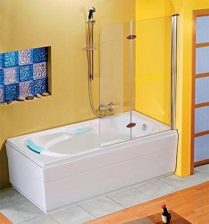 Bañera Kaila 190 x 88 cm con mampara, delantal de bañera, cojín ...
