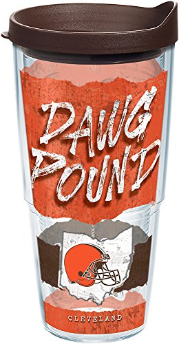 (Tervis 1227745 NFL Cleveland Browns NFL Statement Tumbler with Wrap and Brown Lid 24oz, Clear)