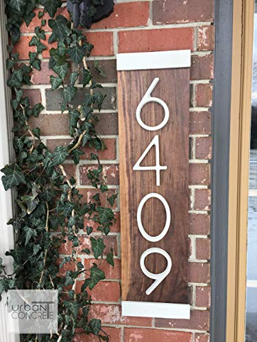 Modern House Numbers Vertical, House Numbers Sign, Modern,Wood and Concrete Address Plaque, Custom house Address Sign, Realtor Closing Gift, Personalized Housewarming Gift. - Vertical House