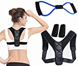 Posture Corrector for Kids Women Men to Eliminate Bad Posture, Slouching, Hunchback. Relief The Pain of Back, Shoulder, Neck Clavicle Support Brace with Underarm Pads, Pull Rope (Black)
