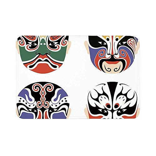 C COABALLA Kabuki Mask Decoration Durable Door Mat,Traditional Chinese Cultural Opera Mask Set Collection Asian Tribal Decorative for Living Room,15.7