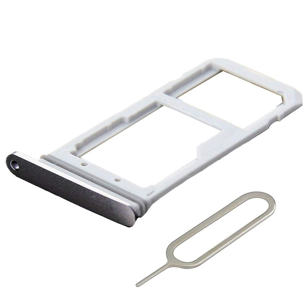 MMOBIEL Bandeja de Tarjeta SIM//SD Compatible con Samsung Galaxy S7 G935 Edge 5.5 Inch Incl sim Pin Blanco//Plateado