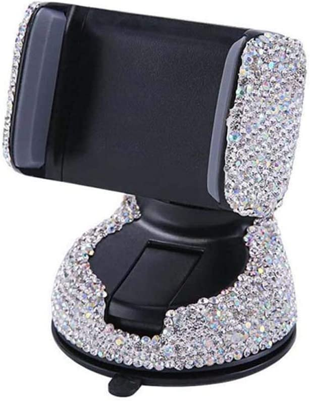 Pursuestar Bling Bling Crystal Car Phone Mount Air Vent Holder for Car Compatible with Phone 5~11 Series Silver