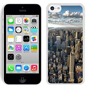 NEW Unique Custom Designed iPhone 5C Phone Case With New York City Skyline Clouds_White Phone Case