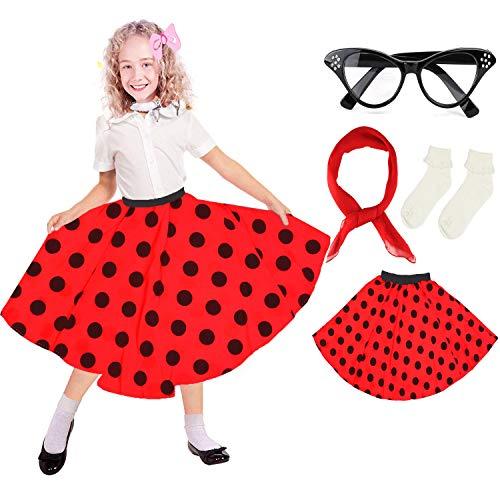 Beelittle 50's Costume Accessories Set Girl Vintage Polka Dot Skirt Scarf Bobby Socks Cat Eye Glasses 50s Kid Costume ()