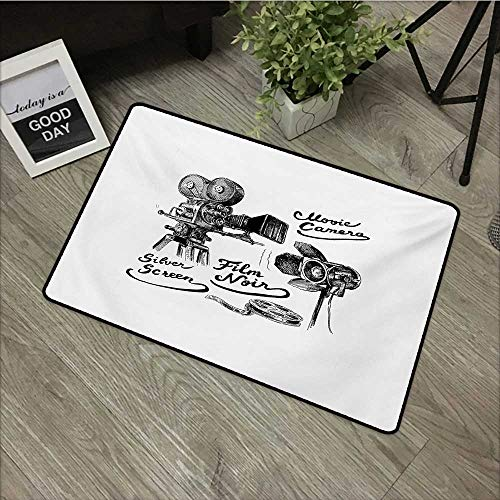 Interior mat W16 x L24 INCH Movie Theater,Cinematography Themed Artwork with Old Camera and Equipment Silver Screen,Black White with Non-Slip Backing Door Mat - Rug Screen Silver Kids