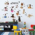 Iusun Children Room Wall Sticker Cute Dogs Decal Puppies Dog Pet Shop Home Decor Removable
