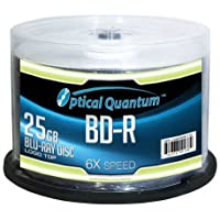 50-Pack Optical Quantum 25GB 6X Thermal Printable 25GB BD-R Blu-Ray Disc Spindle