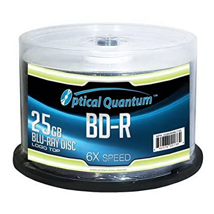 Optical Quantum OQBDR06LT-50 6X 25GB BD-R Single Layer Blu-Ray Recordable Blank Media Logo Top, 50-Disc Spindle Vinpower Digital - JVC