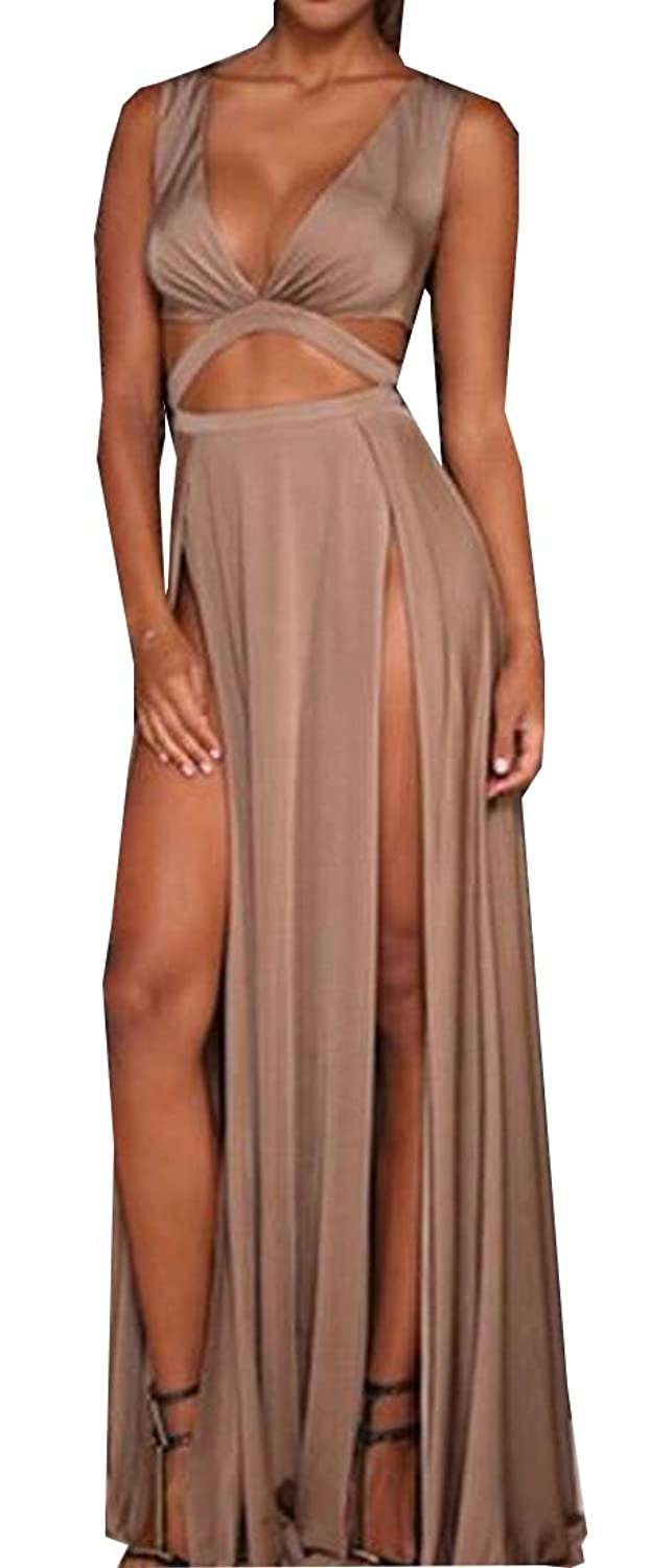 Liva girl Womens Low Cut V Neck Sleeveless Slit Dress