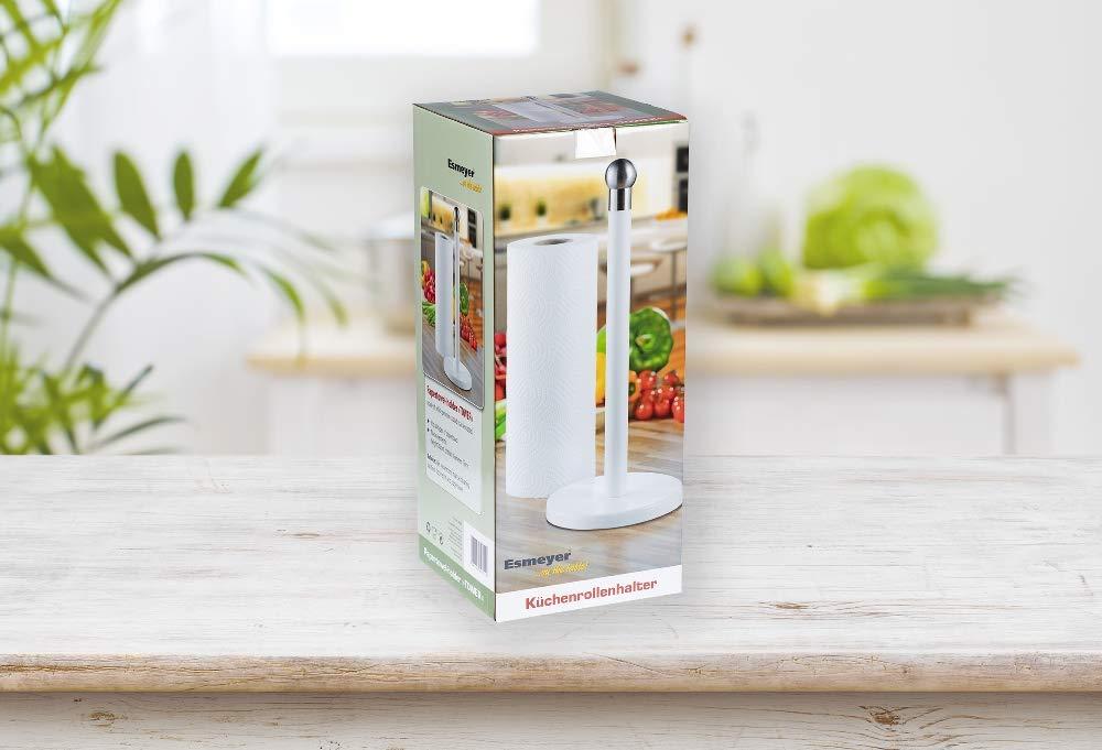 colore: bianco Esmeyer Tower rivestito in acciaio inox in scatola regalo Porta carta da cucina TOWER