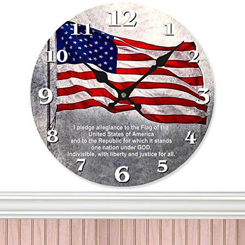 American Flag - US Round Wall Clock Silent Non-Ticking Easy to Read Decorative Battery Operated Wooden Wall Clock Art for Living Room Home Office School Church Wall Art Decor and More