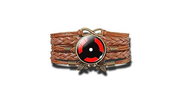 CHERIST Uchiha Clan Rinnegan Sharingan Eye Bracelet Anime Naruto Braided Leather Bracelet Naruto Sasuke Itachi Kakashi Cosplay Jewelry