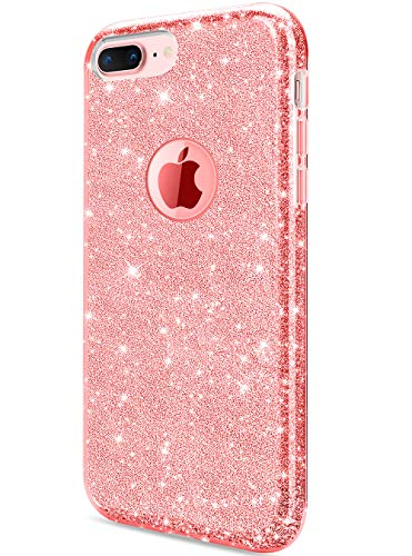 iPhone 8 Plus Case, iPhone 7 Plus Case, DAUPIN Bling Clear Crystal Sparkle Case for Women Apple iPhone 8 Plus 7 (Pink Glitter Crystal Hard Case)