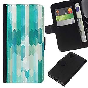 KLONGSHOP // Tirón de la caja Cartera de cuero con ranuras para tarjetas - Tel Azul Blanco con clase Vertical - LG Nexus 5 D820 D821 //
