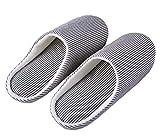 HaoJiLi Men's House Slippers Indoor Memory Foam Cotton Anti-Slip Ultra Lightweight (XL=Women 11-13 B(M) / Men 10-12 D(M), Navy/White)