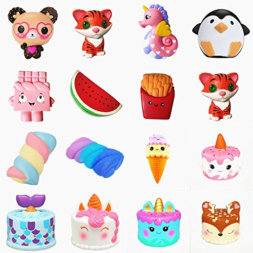 Random 1PC Style Squishy Slow Rising squeeze toy Narwhal Rose deer cake star deer teeth glasses bear watermelon banana ice cream octopus Cotton