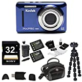 Cheap Kodak PIXPRO Friendly Zoom FZ53 (Blue), 2 EXTRA Wasabi Batteries, Sony 32GB Class 10 70MB/s SDHC Bundle