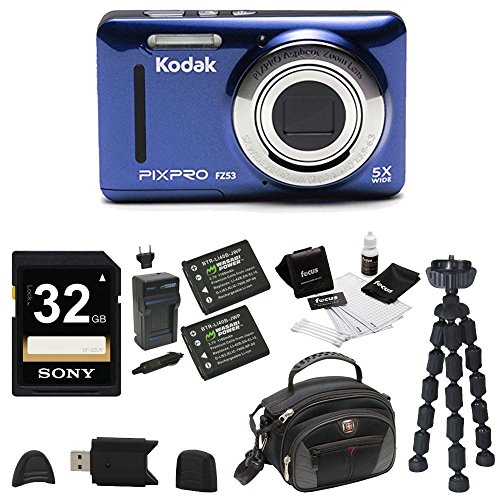 Kodak PIXPRO Friendly Zoom FZ53 (Blue), 2 EXTRA Wasabi Batteries, Sony 32GB Class 10 70MB/s SDHC Bundle