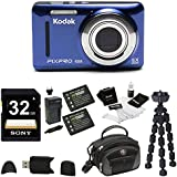 Kodak PIXPRO Friendly Zoom FZ53 (Blue) , 2 EXTRA Wasabi Batteries, Sony 32GB Class 10 70MB/s SDHC Bundle