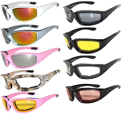 Womens Mens Wholesale Padded Foam Motorcycle Biker Glasses Goggles 99% UV protection (9-pairs, - Wholesale Biker Sunglasses