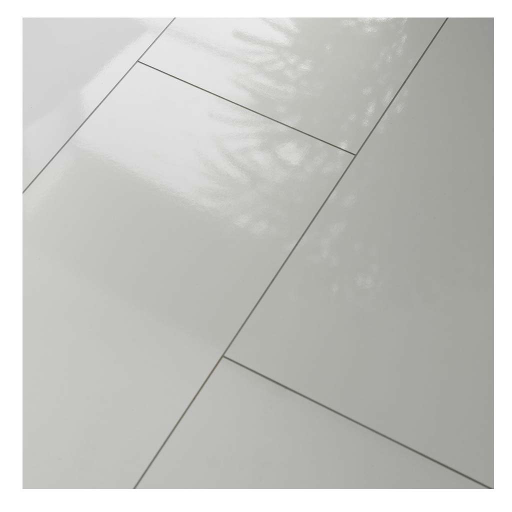 westco h474418 8mm glossy laminate tile effect flooring plank white