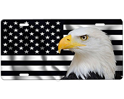 American Airbrushed Eagle - Black American Flag Eagle License Plate