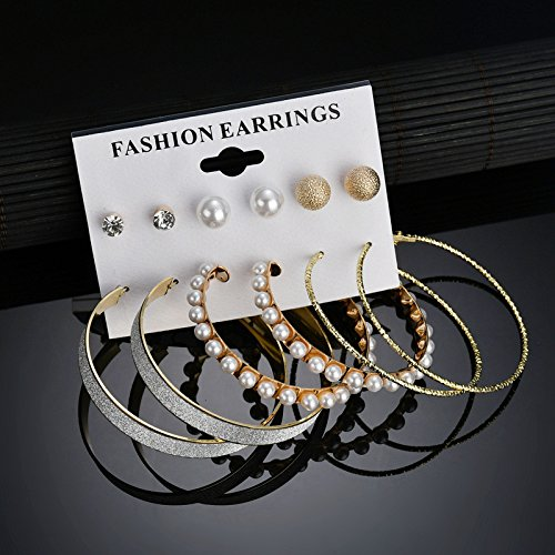 6 Pairs Diamond Stud Earrings Scrub Crystal Pearl Big Circle Clip On Earring Hoop Simple Huggie Earrings Ear Cuffs Jewelry Set (Gold)