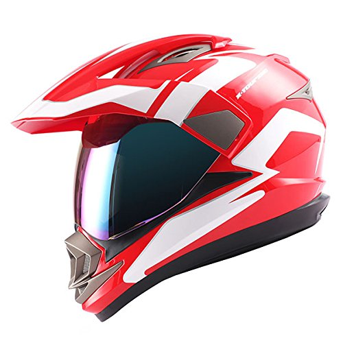 Dual Sport Helmet Motorcycle Full Face Motocross Off Road Bike Racing Red White ()