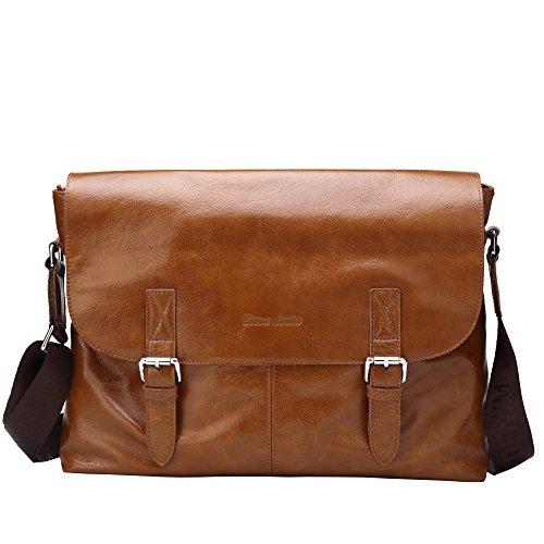 BISON DENIM Multipurpose Genuine Leather Laptop Messenger Bag Shoulder Bags Briefcase Business Bag Brown