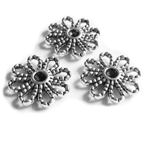14 Mm Flower (Heather's cf 82 Pieces Silver Tone Flower Spacer Connector Findings (8 Holes)Jewelry Making 14mm)
