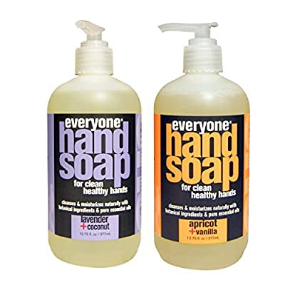 Everyone Botanical Lavender + Coconut Hand Soap & Everyone Botanical Apricot + Vanilla Hand Soap Bundle, 12.75 oz each