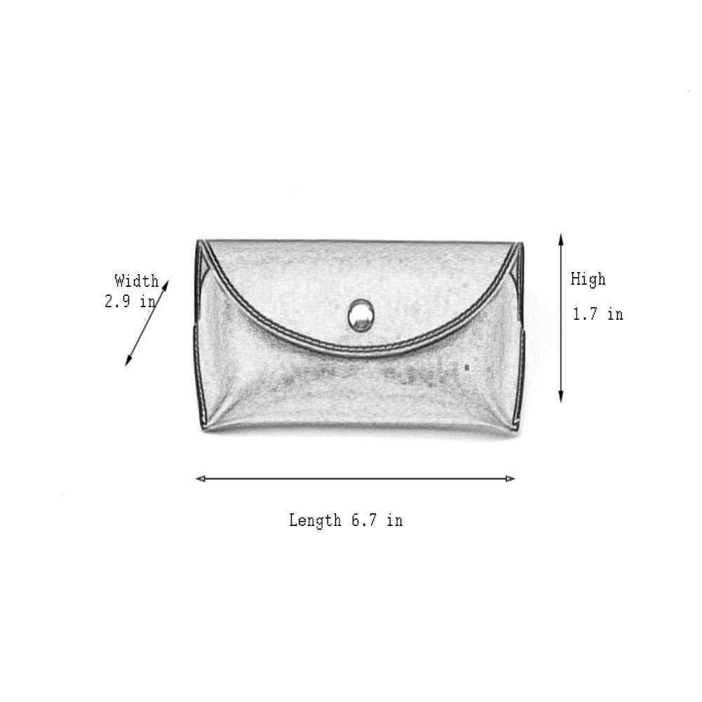 BEST LIV Portable Sunglasses Case Leather Glasses Carrying Case Glasses Bag Snap Closure