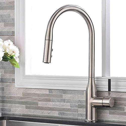 Comllen Commercial Single Handle Pull Down Sprayer Kitchen Faucet,Brushed Nickel Stainless Steel High Arc Kitchen sink Faucet Without Deck Plate Matte Black Handle
