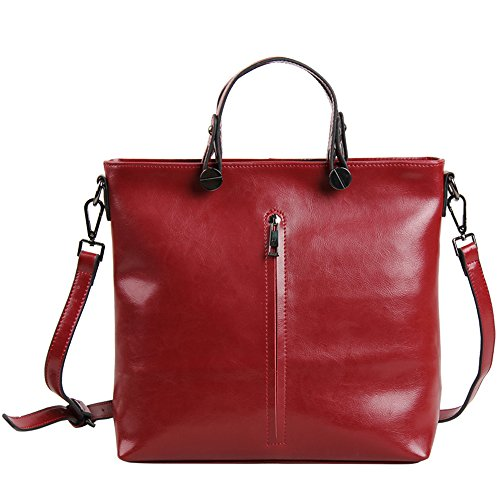 Borgasets Fashion Women Genuine Leather Top-handle Tote (red) Bg884red