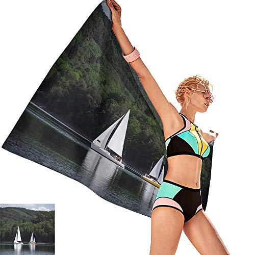 homehot Bath Towel wrap for Women Sailboats on a Lake,W10 xL39 for Bathroom Striped -