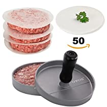 OVOS Non-Stick Burger Press With 50 FREE Patty Papers, Wood Handle, Aluminum