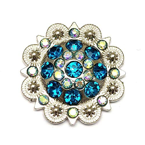 Berry Conchos with Screws Metal Flower Rhinestone Conchos 12 Pieces ()