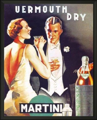 - EuroGraphics Vermouth Dry Martini, 1930 by D. Lubatti. Framed Vintage Advertising Reproduction Poster. Custom Made Real Wood Classic Black Frame (17 1/8 x 21 1/8)