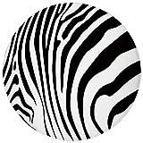 Round Rug Mat Carpet,Zebra Print,Zebra Animal Skin Pattern Nature Desert Life Theme Simple Stylish Illustration Decorative,Black White,Flannel Microfiber Non-slip Soft Absorbent,for Kitchen Floor Bath