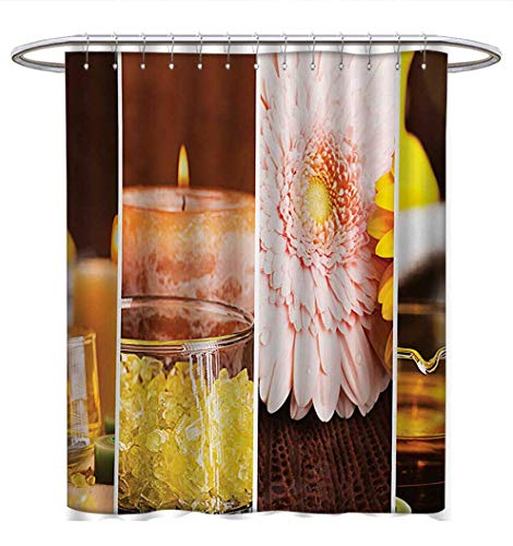 (Anhuthree Exotic Shower Curtains Fabric Aromatic Collage with Gerbera and Candles Exotic Asian Body Therapy and Treatment Bathroom Decor Sets with Hooks W69 x L70 Orange Brown)