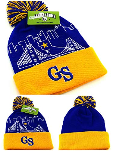 Golden State New Leader Knit Bridge Beanie Toque Warriors Colors Skyline Blue Gold Puffed Pom Era Hat Cap