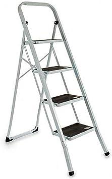 Escalera plegable Antideslizantes, Negro, Acero Inoxidable (4 Peldaños): Amazon.es: Bricolaje y herramientas
