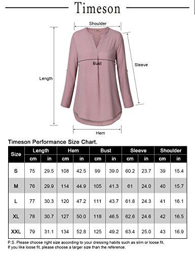 Timeson-Womens-Casual-Chiffon-V-Neck-Cuffed-Sleeve-Blouse-Tops