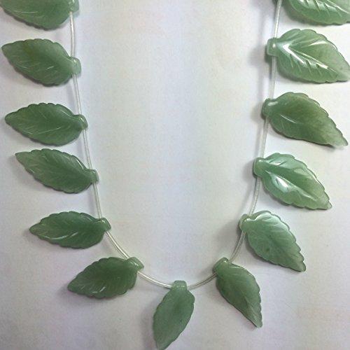 18 pcs Natural Gemstones Leaf Beads 35x16mm (Aventurine)