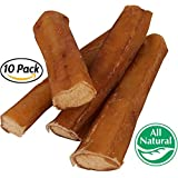 """5"""" Straight Bully Sticks for Dogs [Large Thickness] (10 Pack) - Natural Low Odor Bulk Dog Dental Treats, Best Thick Pizzle Chew Stix, 5 inch, Chemical Free"""